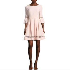 Eliza J Pink Fit & Flare Bell Sleeve Dress